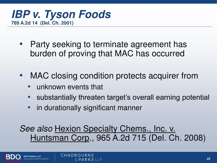 IBP v. Tyson Foods