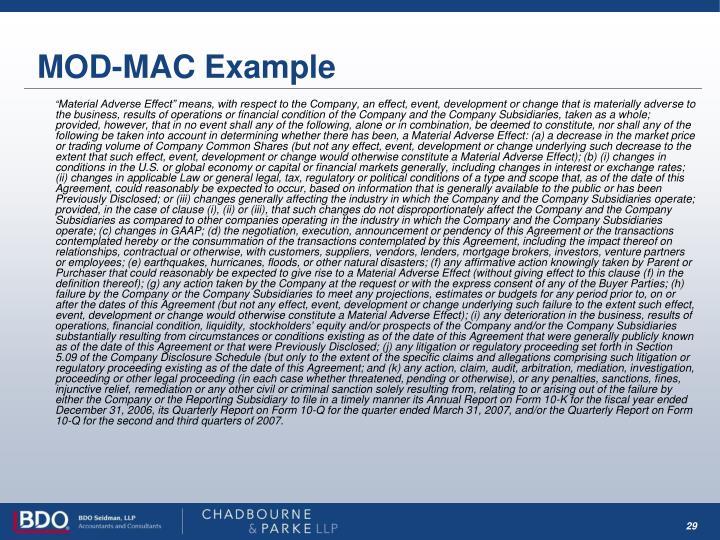 MOD-MAC Example