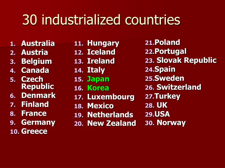 30 industrialized countries