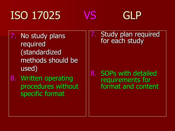 No study plans required (standardized methods should be used)