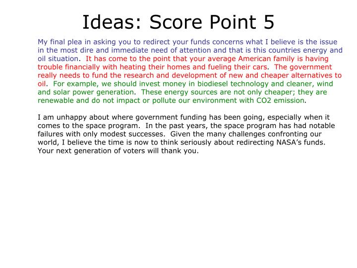Ideas: Score Point 5