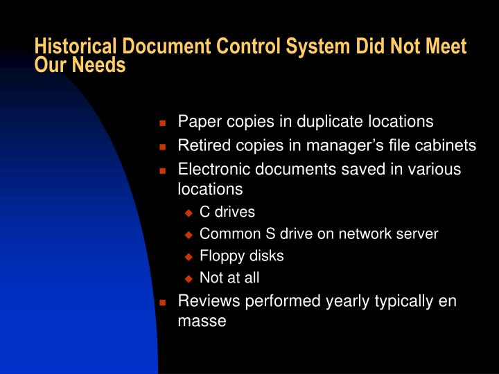 Historical Document Control System Did Not Meet Our Needs