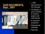 our documents sept 2001