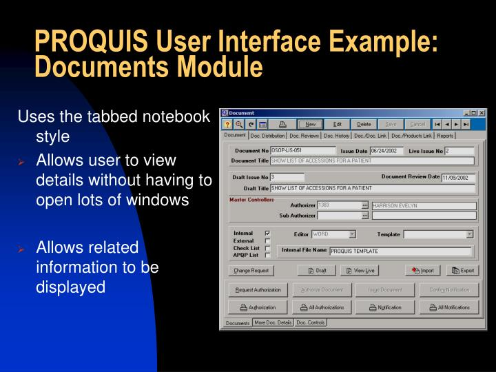 PROQUIS User Interface Example: Documents Module