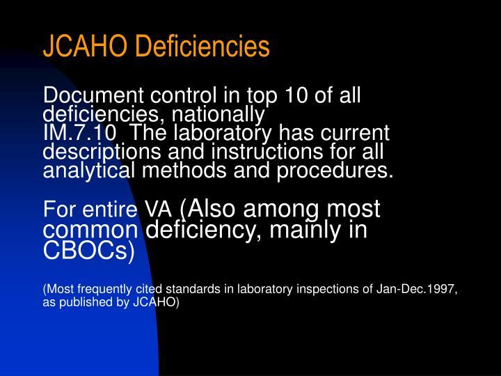 JCAHO Deficiencies