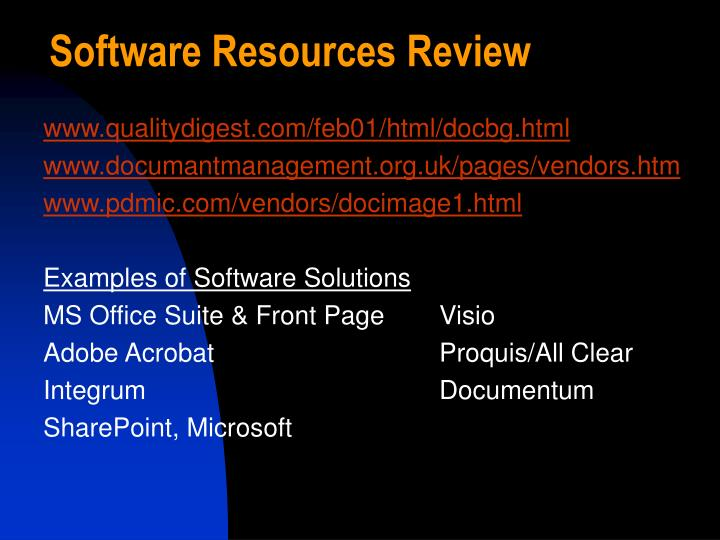 Software Resources Review