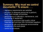 summary why must we control documents to ensure