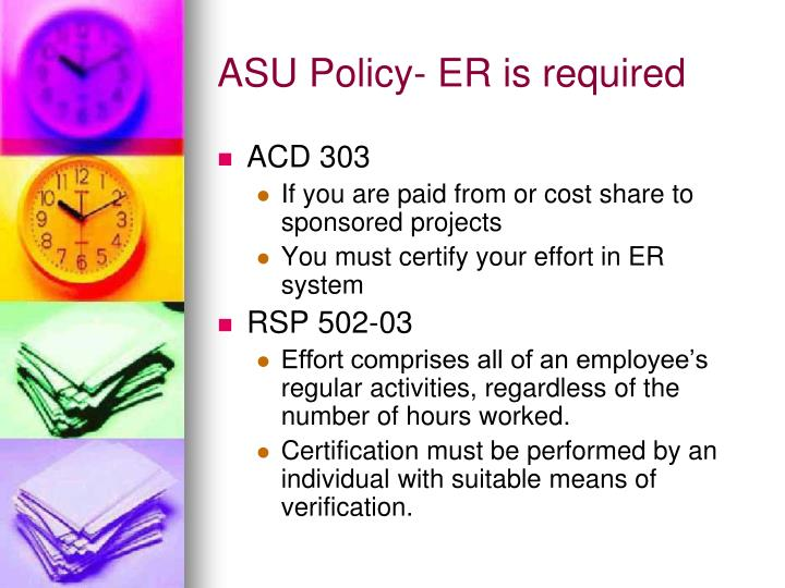 ASU Policy- ER is required