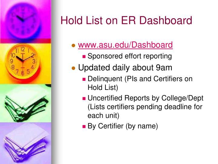 Hold List on ER Dashboard