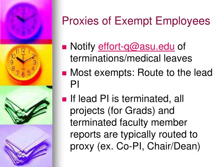 Proxies of Exempt Employees