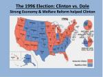 the 1996 election clinton vs dole strong economy welfare reform helped clinton