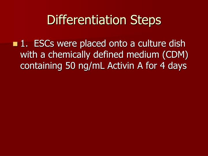 Differentiation Steps