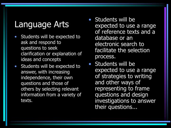 Students will be expected to ask and respond to questions to seek clarification or explanation of ideas and concepts
