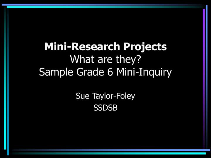 Mini-Research Projects