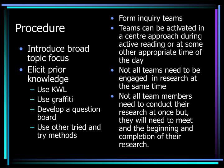 Introduce broad topic focus