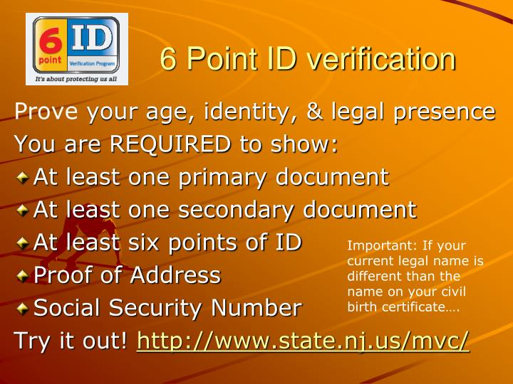 6 Point ID verification