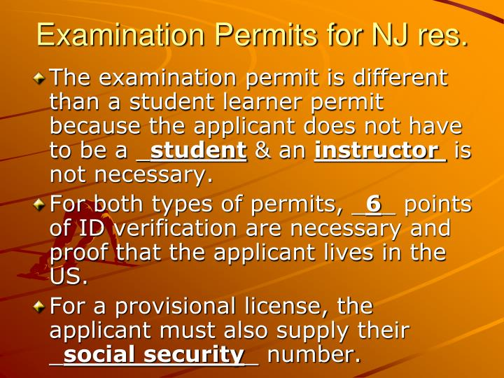 Examination Permits for NJ res.