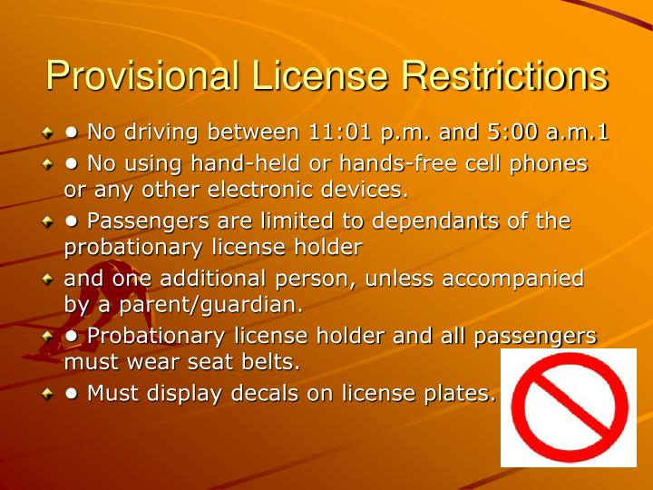 Provisional License Restrictions