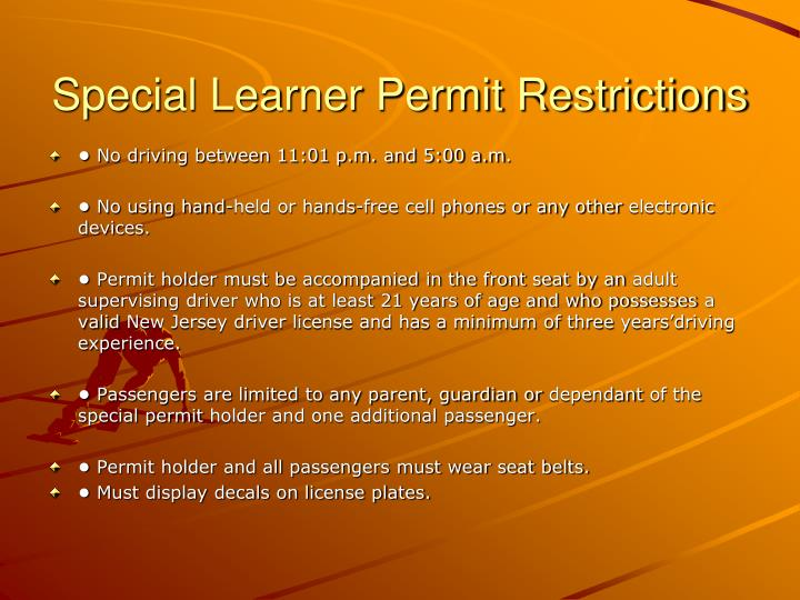 Special Learner Permit Restrictions