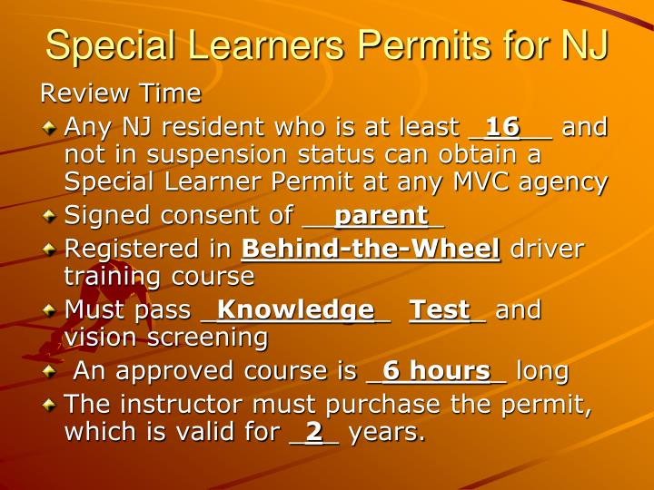 Special Learners Permits for NJ