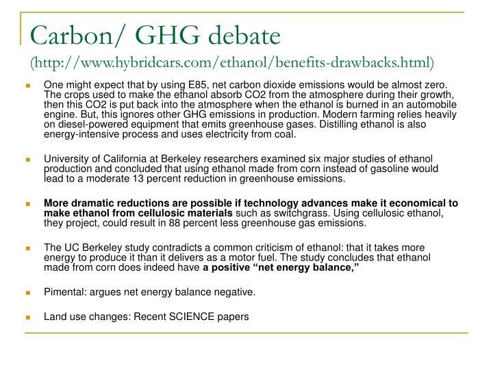 Carbon/ GHG debate
