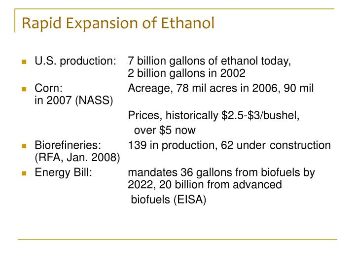 Rapid Expansion of Ethanol