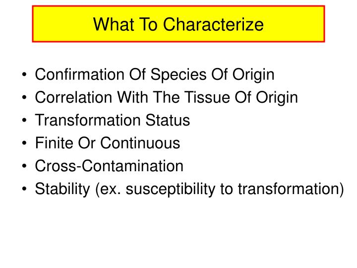 What To Characterize