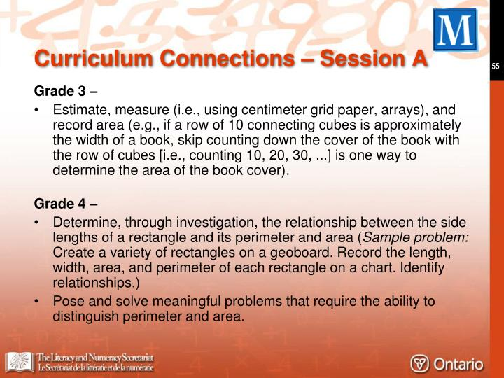 Curriculum Connections – Session A