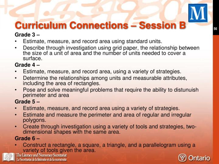 Curriculum Connections – Session B