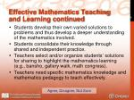 effective mathematics teaching and learning continued