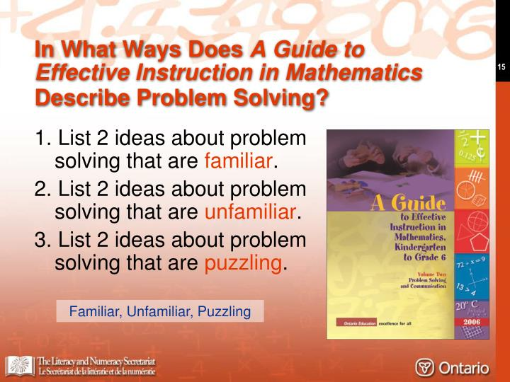 1. List 2 ideas about problem solving that are