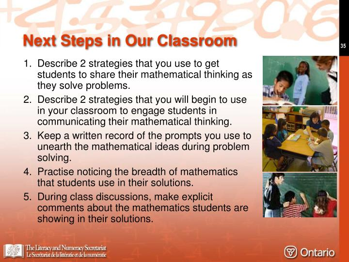 Next Steps in Our Classroom