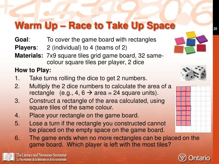 Warm Up – Race to Take Up Space