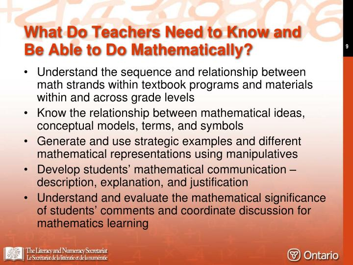 What Do Teachers Need to Know and