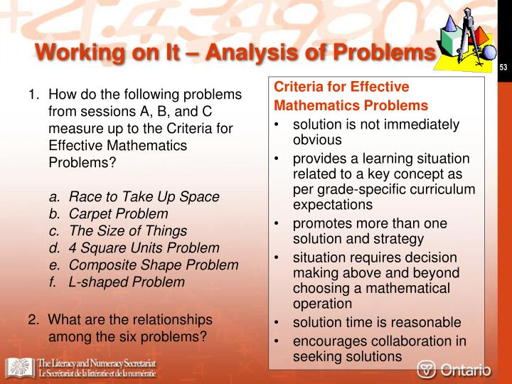 1. How do the following problems from sessions A, B, and C measure up to the Criteria for  Effective Mathematics Problems?