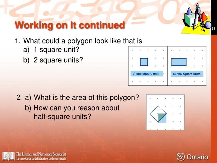a) one square unit