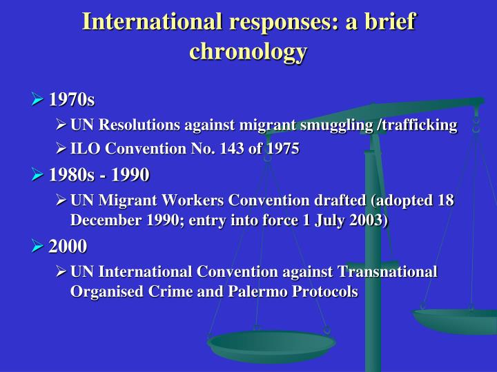 International responses a brief chronology