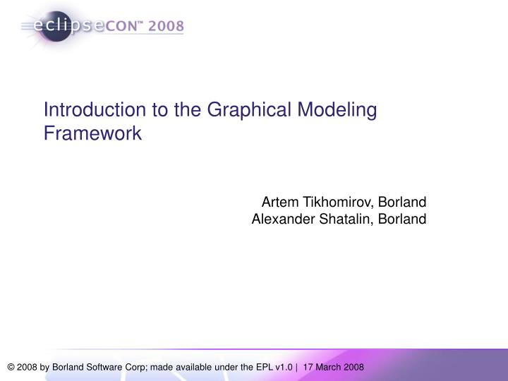 Introduction to the graphical modeling framework