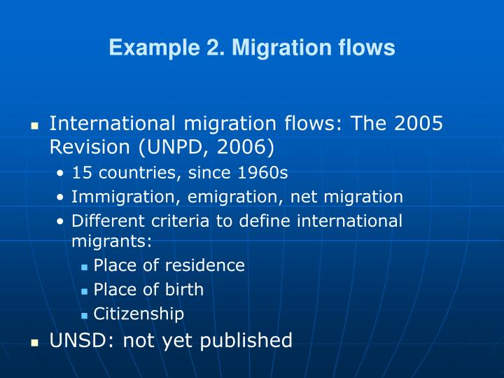 Example 2. Migration flows