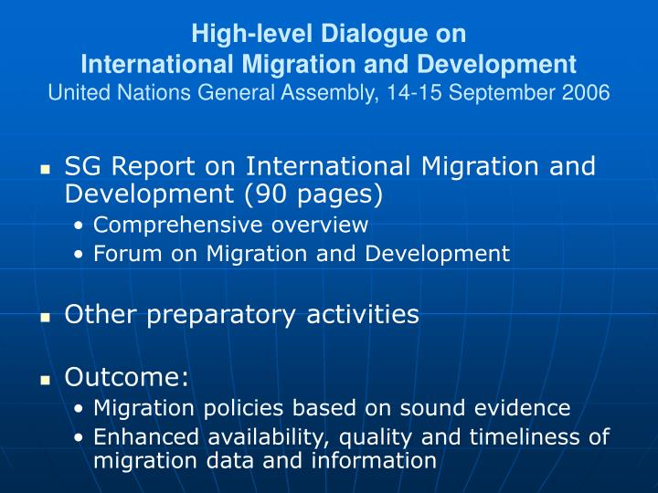 High-level Dialogue on
