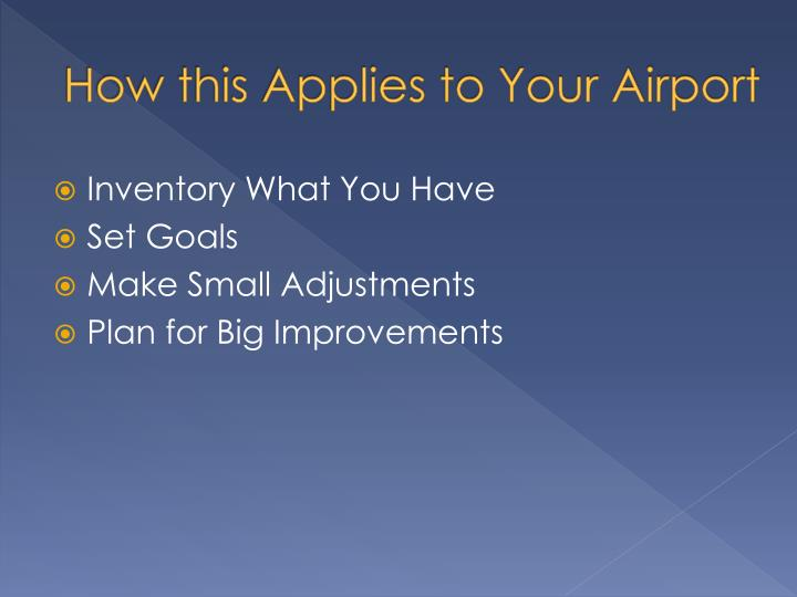 How this Applies to Your Airport