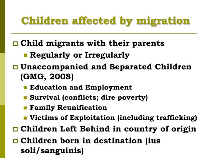 Children affected by migration