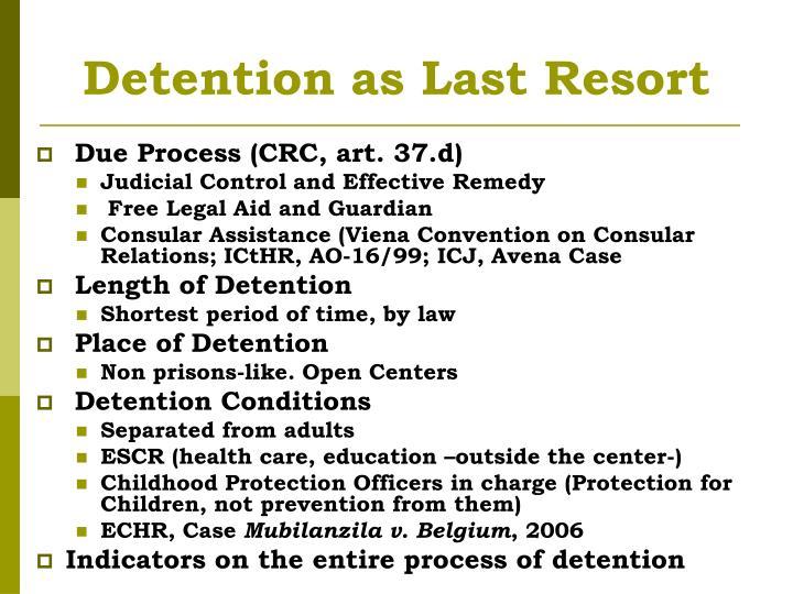 Detention as Last Resort
