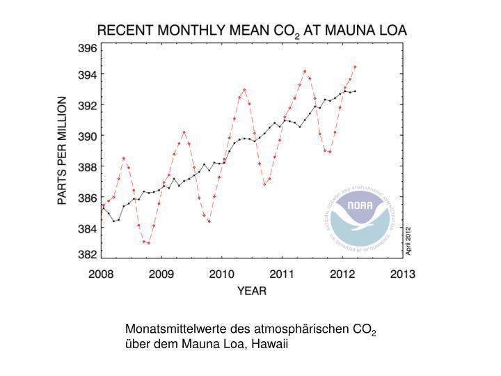 Monatsmittelwerte des atmosphärischen CO