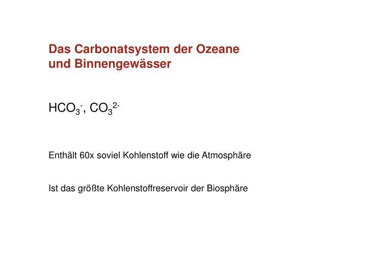 Das Carbonatsystem der Ozeane und Binnengewässer