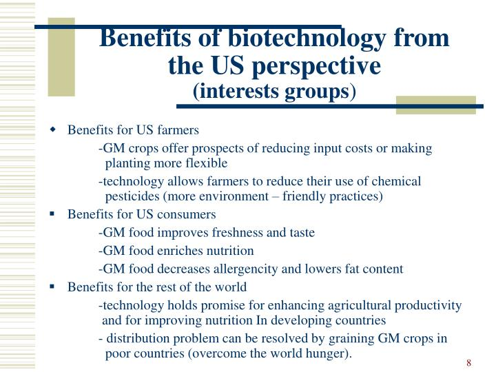 Benefits of biotechnology from the US perspective