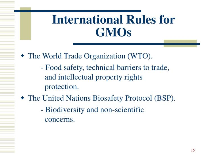 International Rules for GMOs