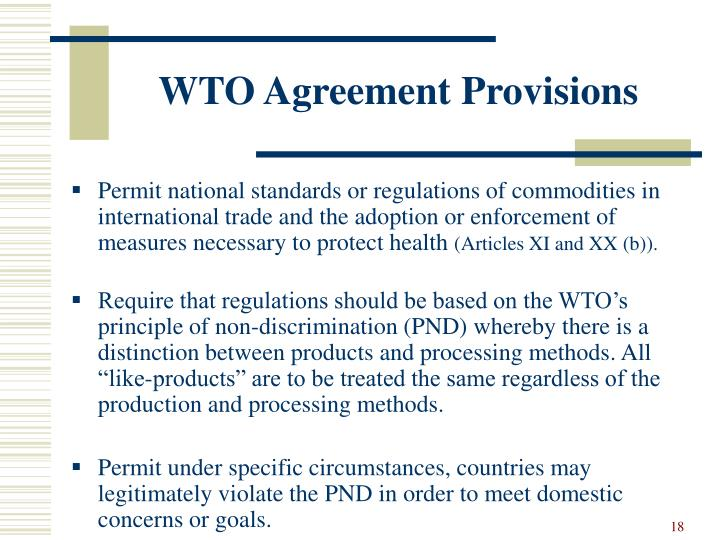 WTO Agreement Provisions