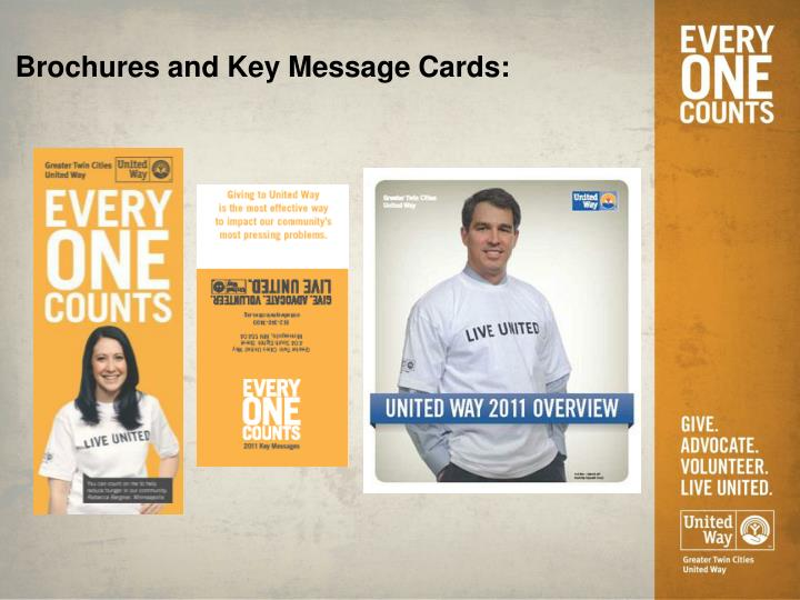 Brochures and Key Message Cards: