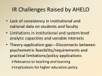 ir challenges raised by ahelo